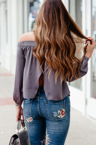 Embroidery Trend for Fall: sharing one of the current biggest denim trends, plus a roundup of the best embroidered jeans, shoes, and denim jackets for Fall.