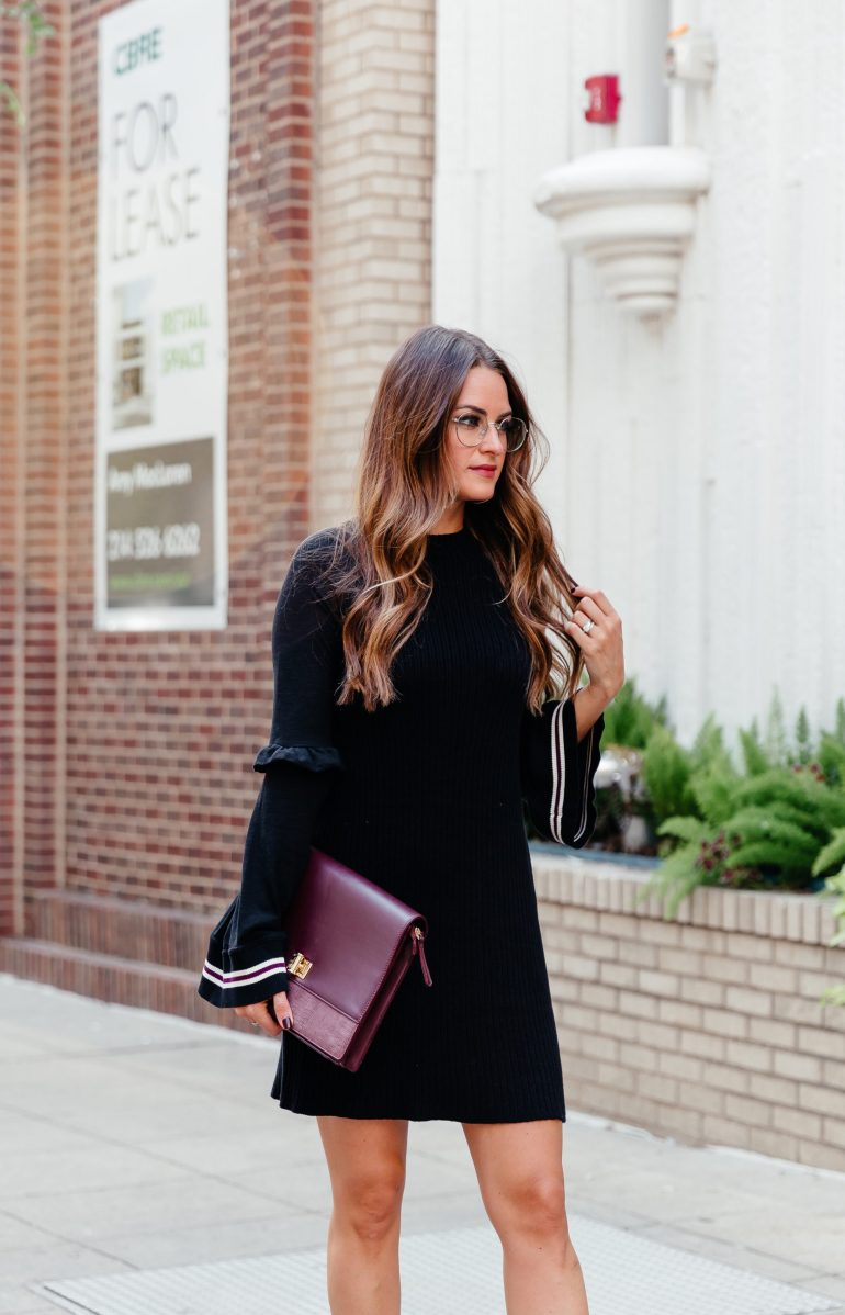Sweater dress season: rounding up fifteen of my favorite sweater dresses for Fall and sharing how I styled one black bell sleeve sweater.