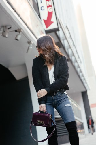 Fuzzy Wuzzy: Dallas blogger sharing a fleece moto jacket dressed up with OTK boots and a patent bag. Plus, five thoughts on my whole 30 with just a few days left. #fleece #fleecemoto #motojacket #casualstyle