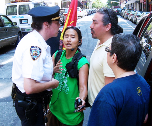 LR: NYPD, Kris Hayashi, Executive Director of Audre Lorde Project