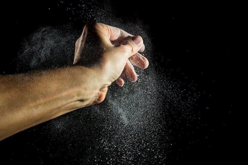 flour dust, flour, hand