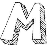Large Block Letter M » Alphabet Coloring