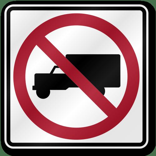 No Trucks R5 2 Traffic 080 Outdoor Reflective Aluminum