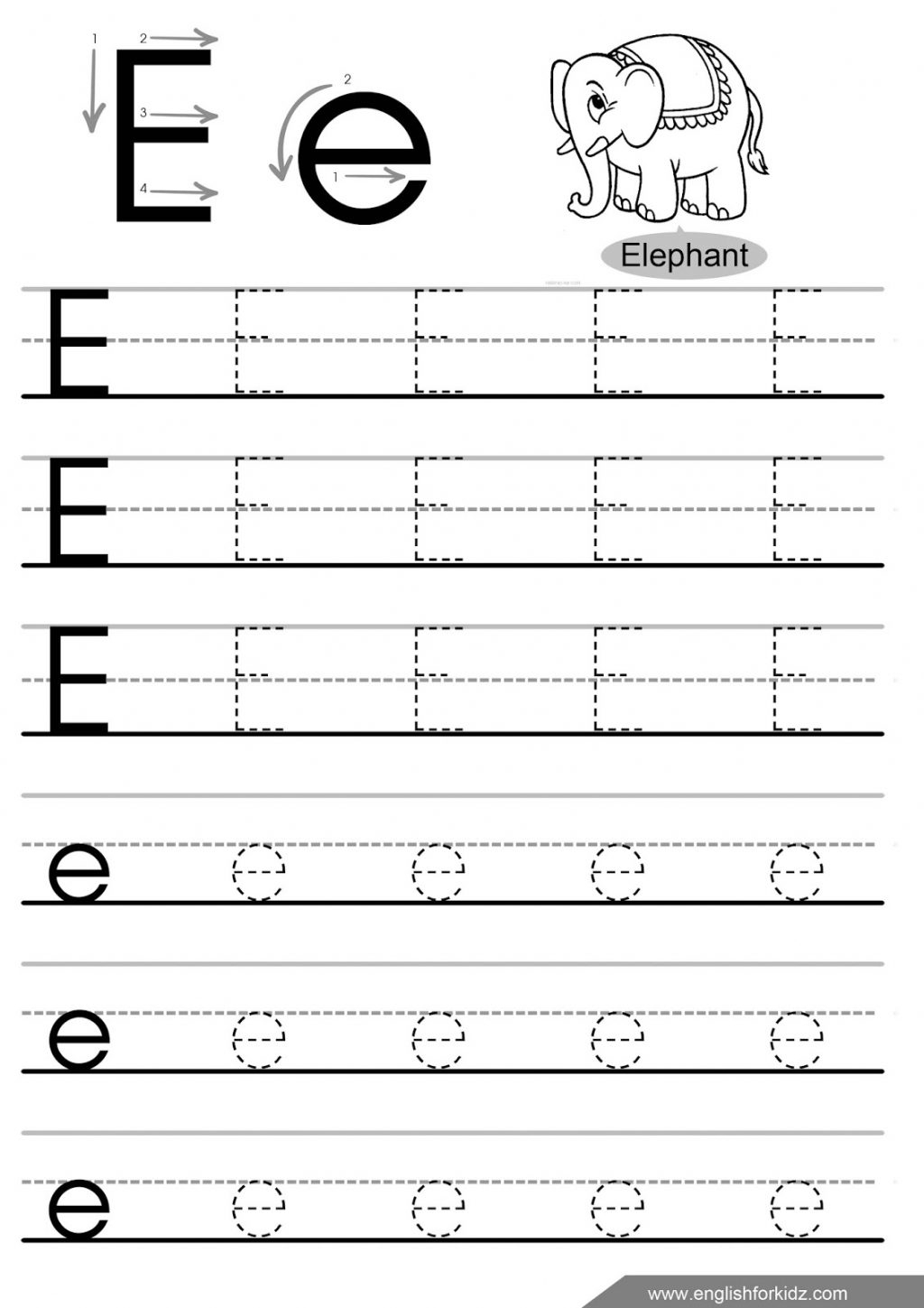 Letter E Worksheets Cut And Paste