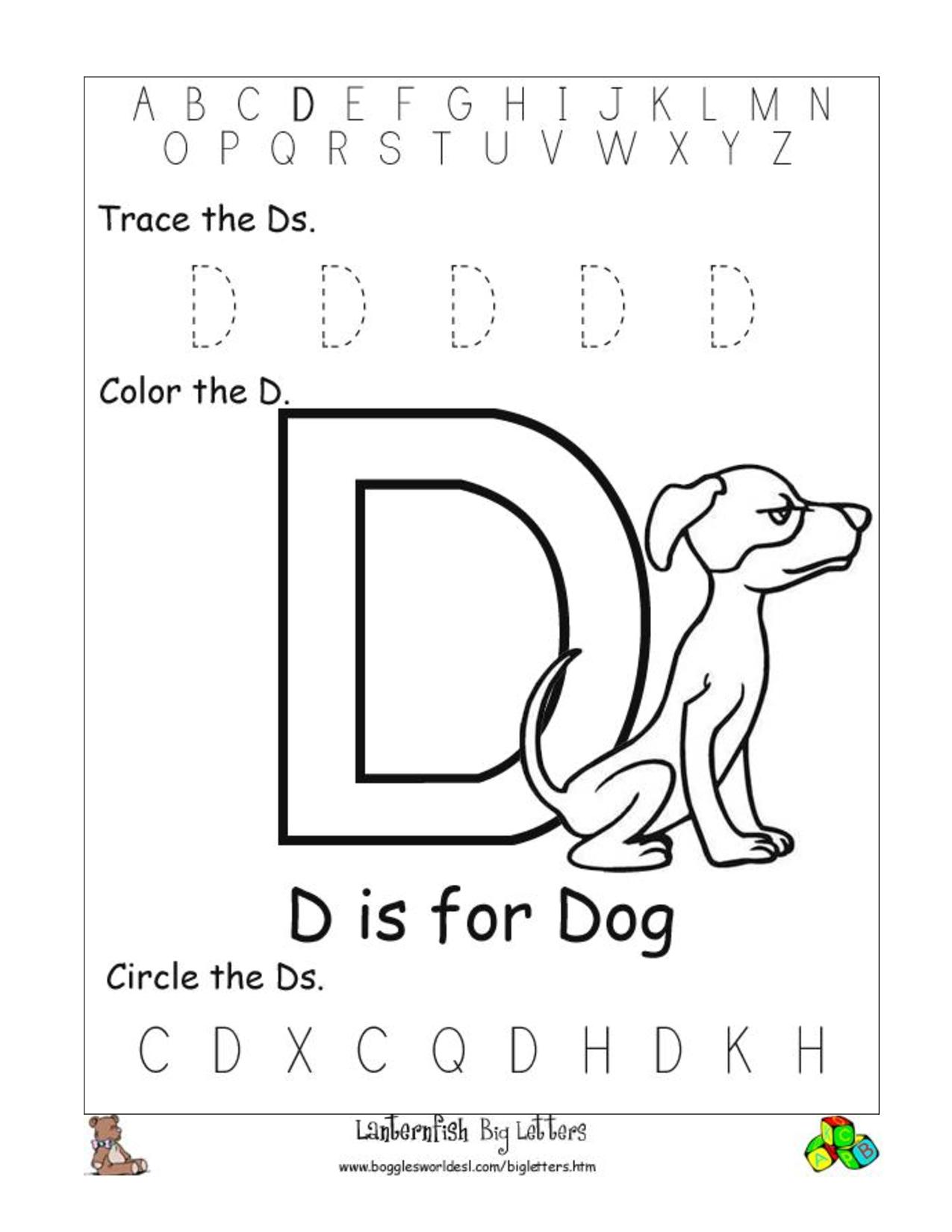 Letter D Worksheets Free Printables