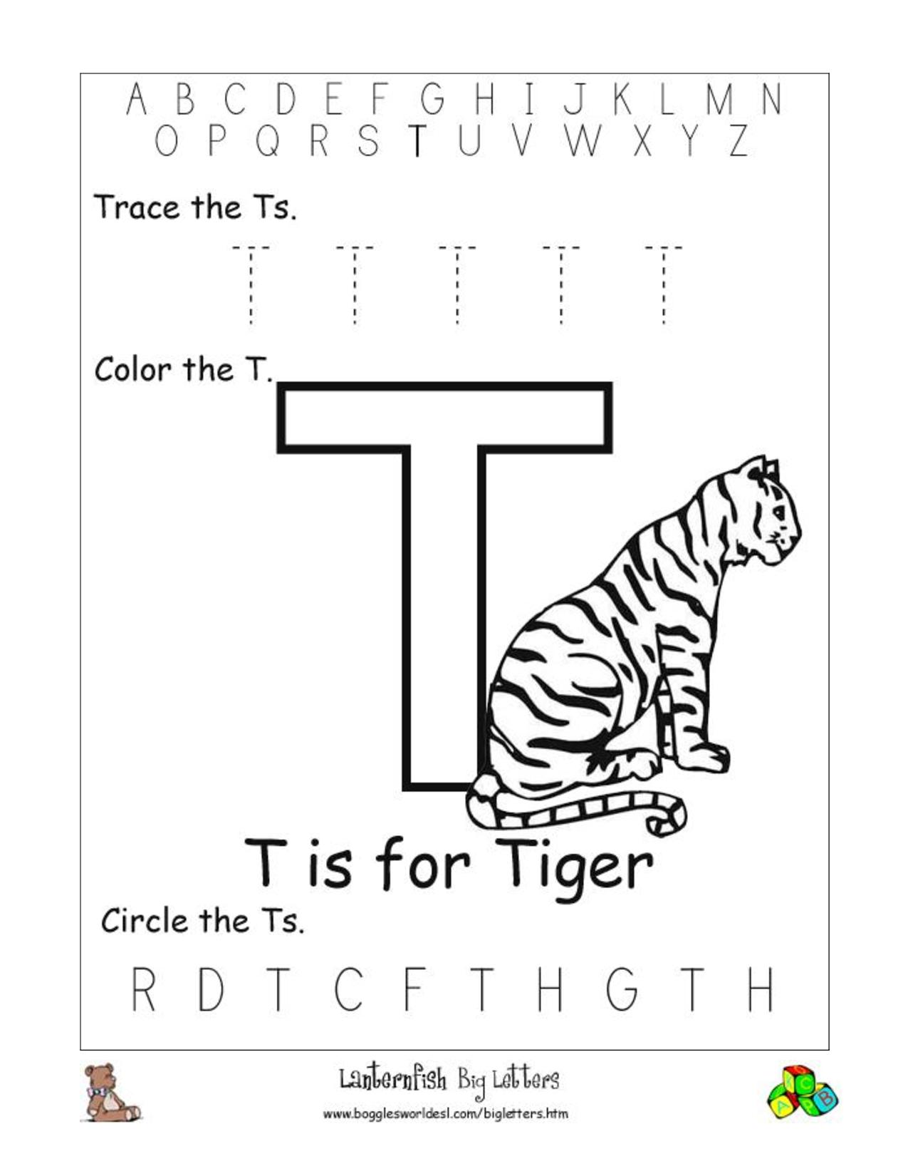 Letter T Worksheets Prek