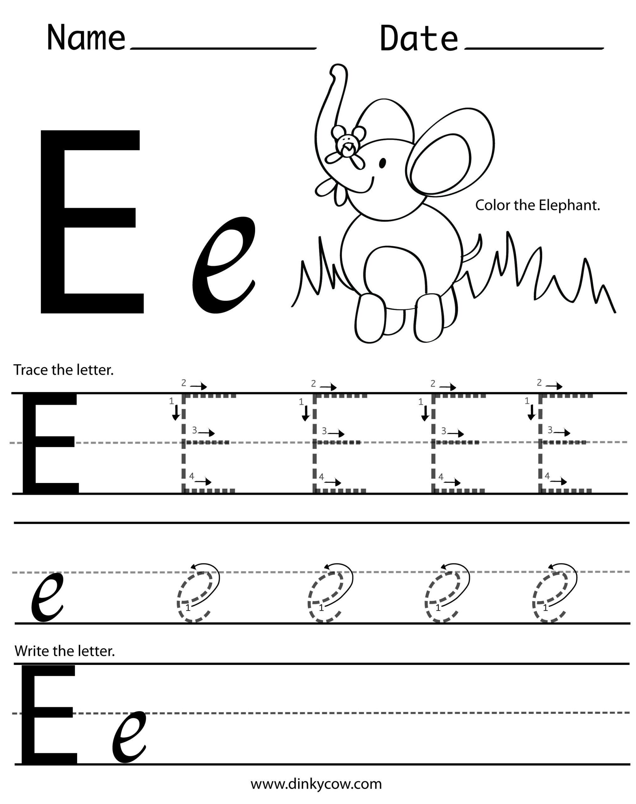 Letter E Worksheets Free