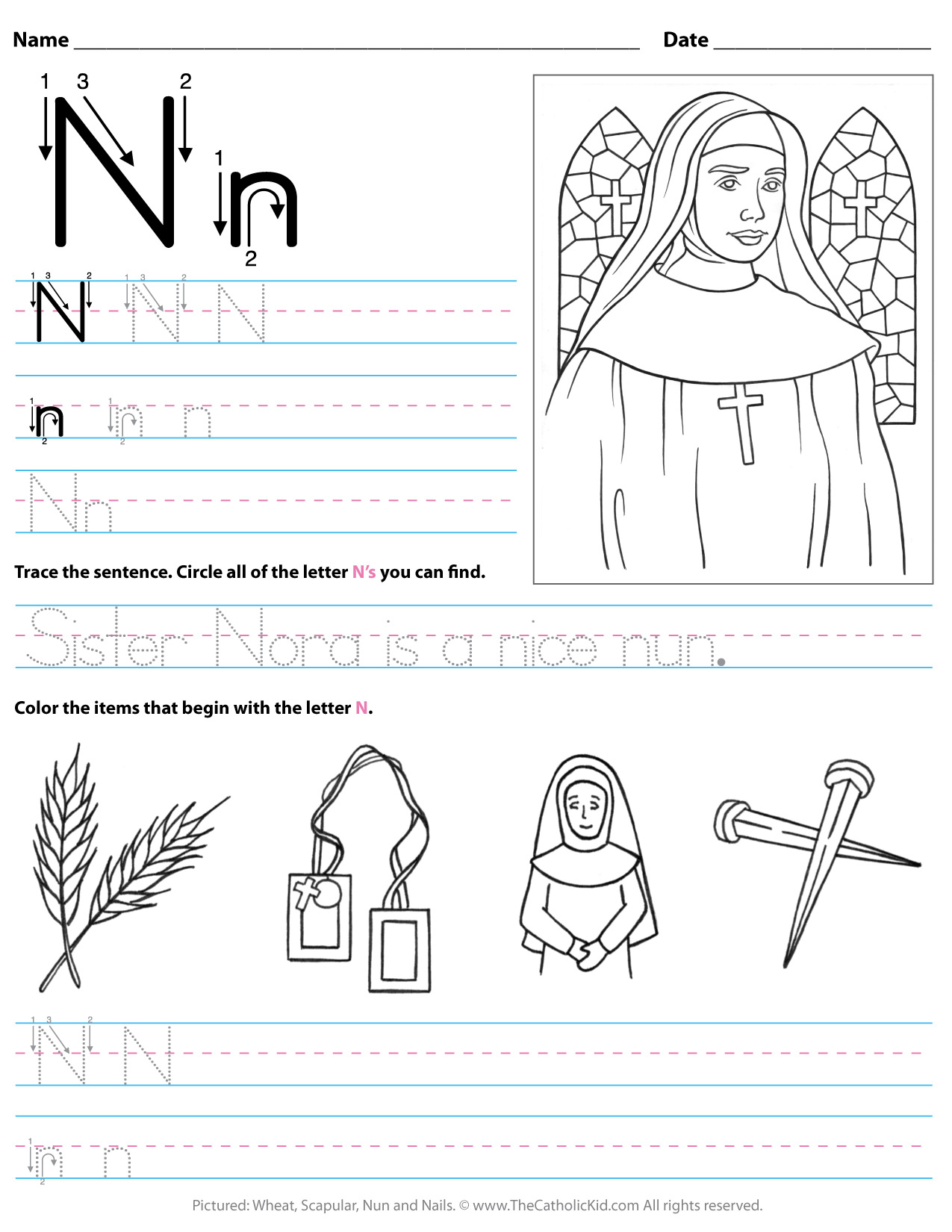 Letter N Worksheets For Kindergarten