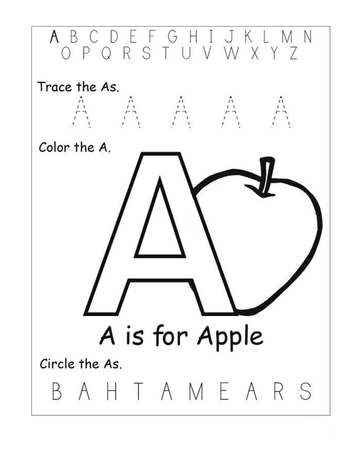 Free Printable Pre K Alphabet Worksheets