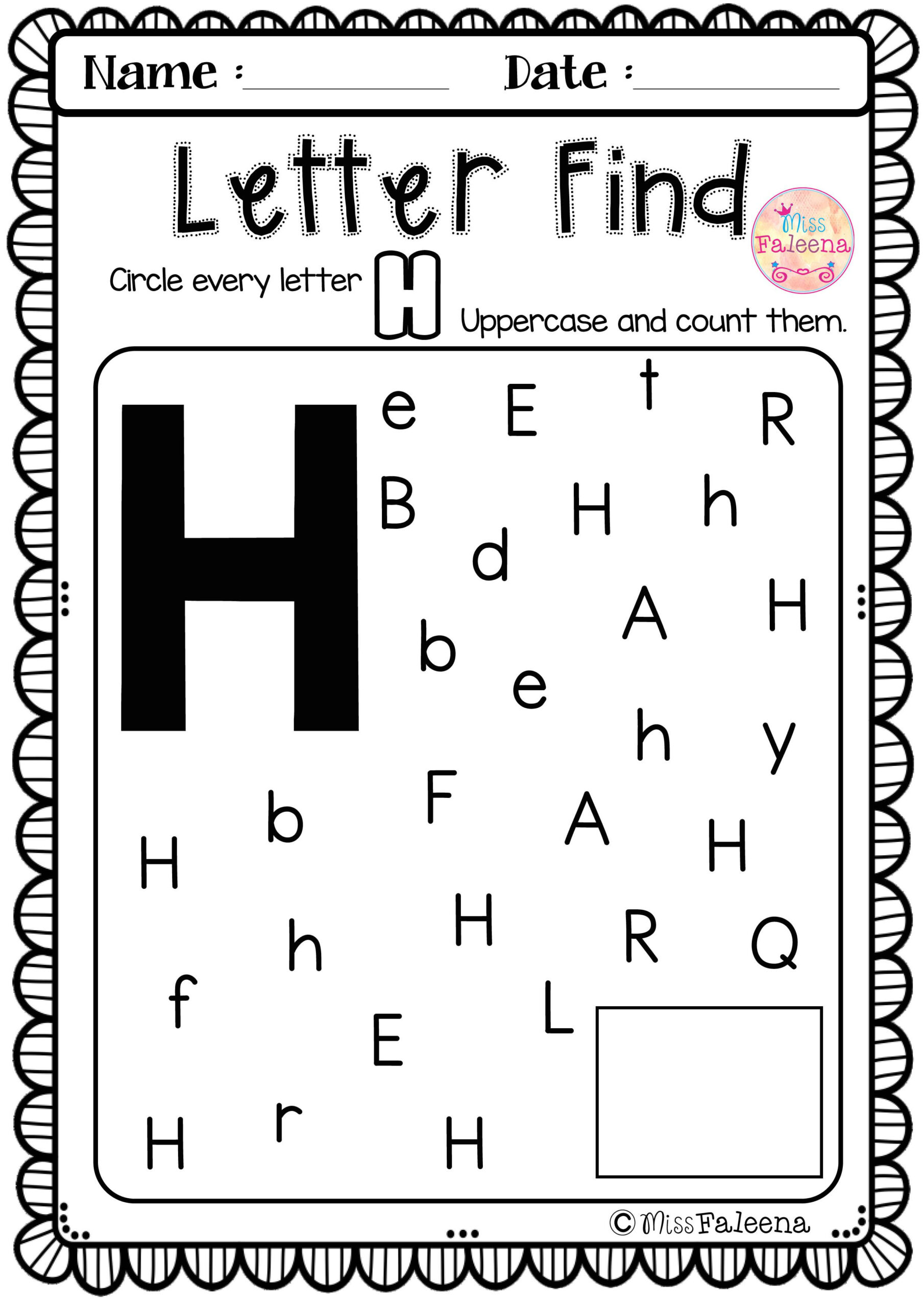 Letter H Worksheets For Pre K