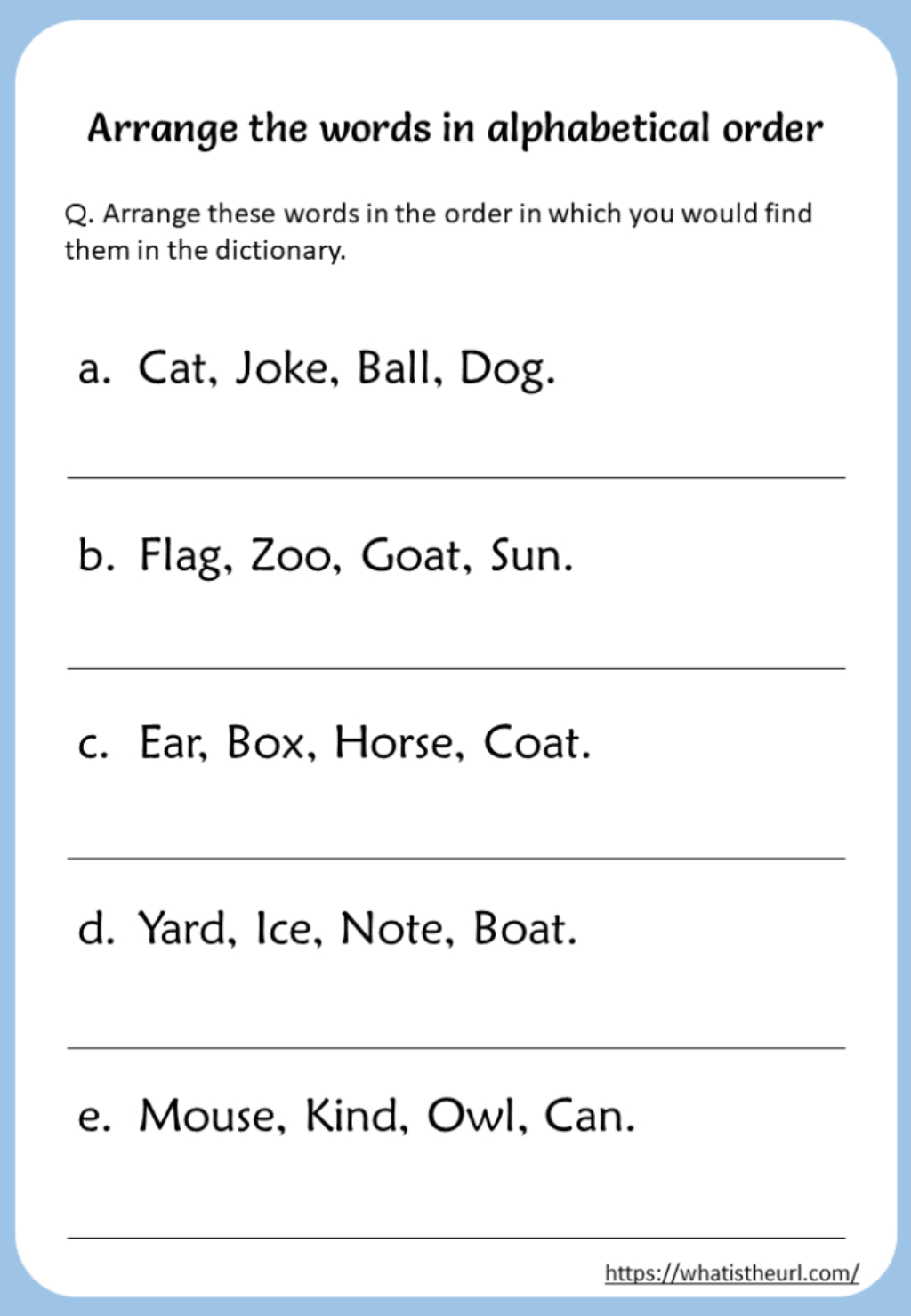 Alphabet Order Worksheets