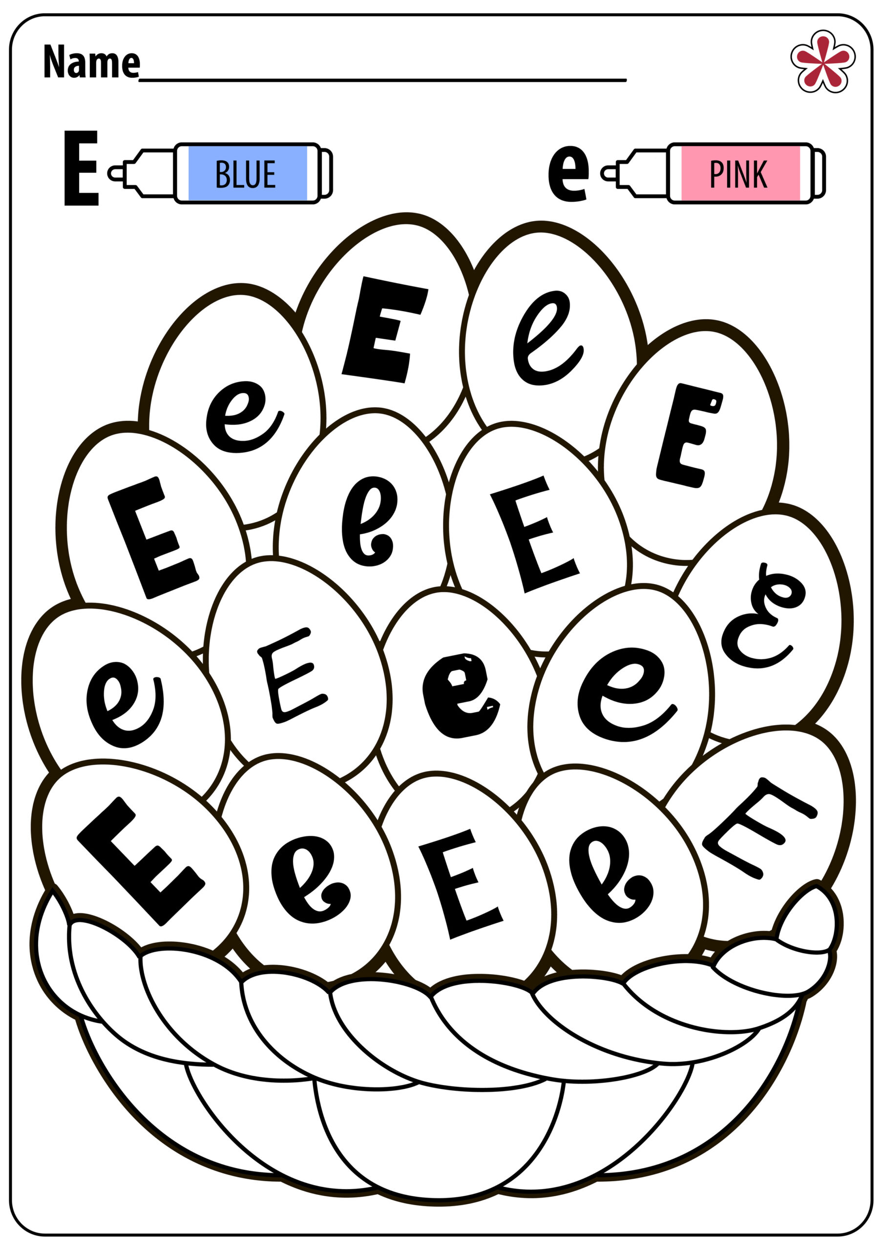 Letter E Worksheets For Toddlers