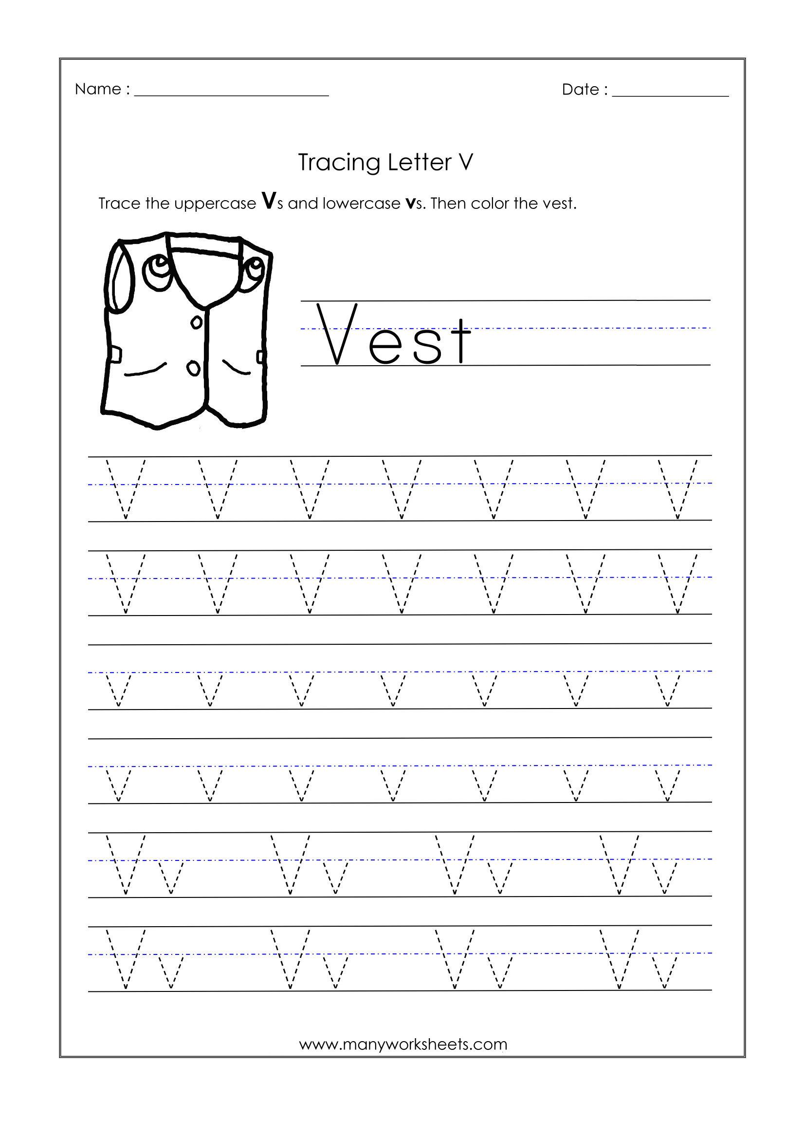 Letter V Tracing Worksheets For Preschool