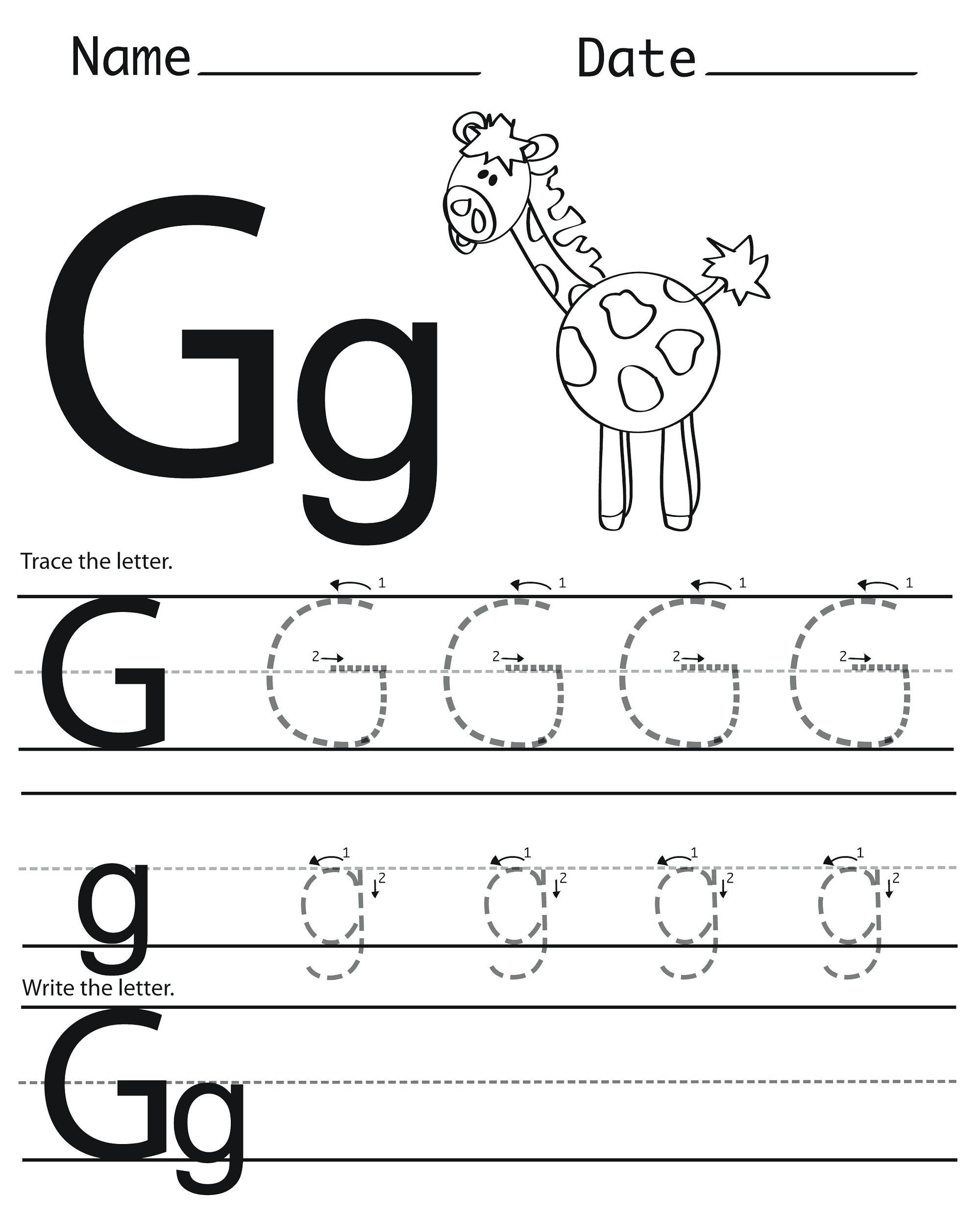 Alphabet G Tracing Worksheets