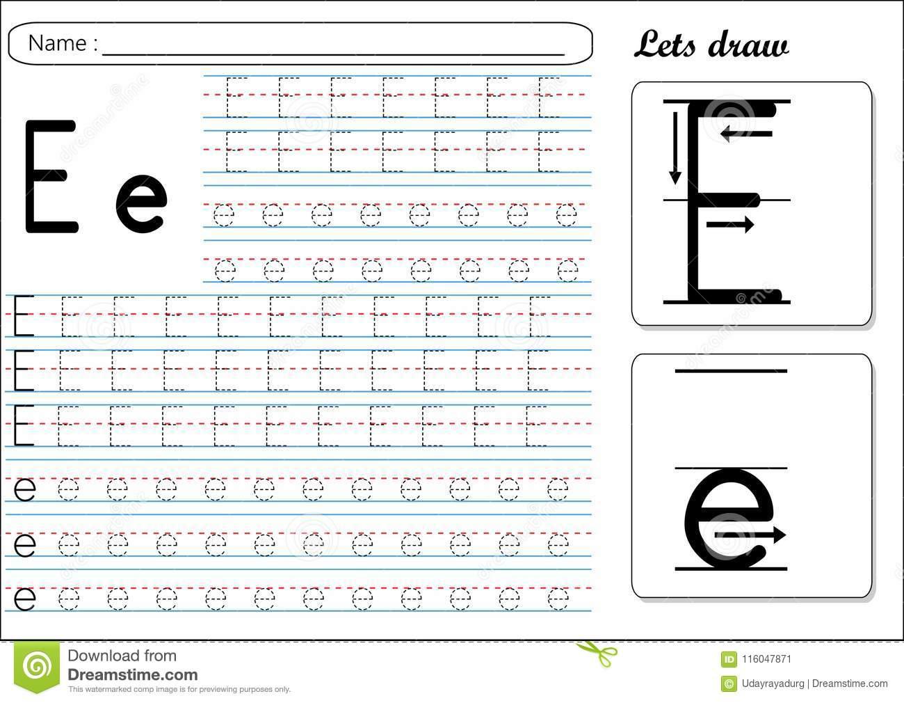 Alphabet E Tracing Worksheets