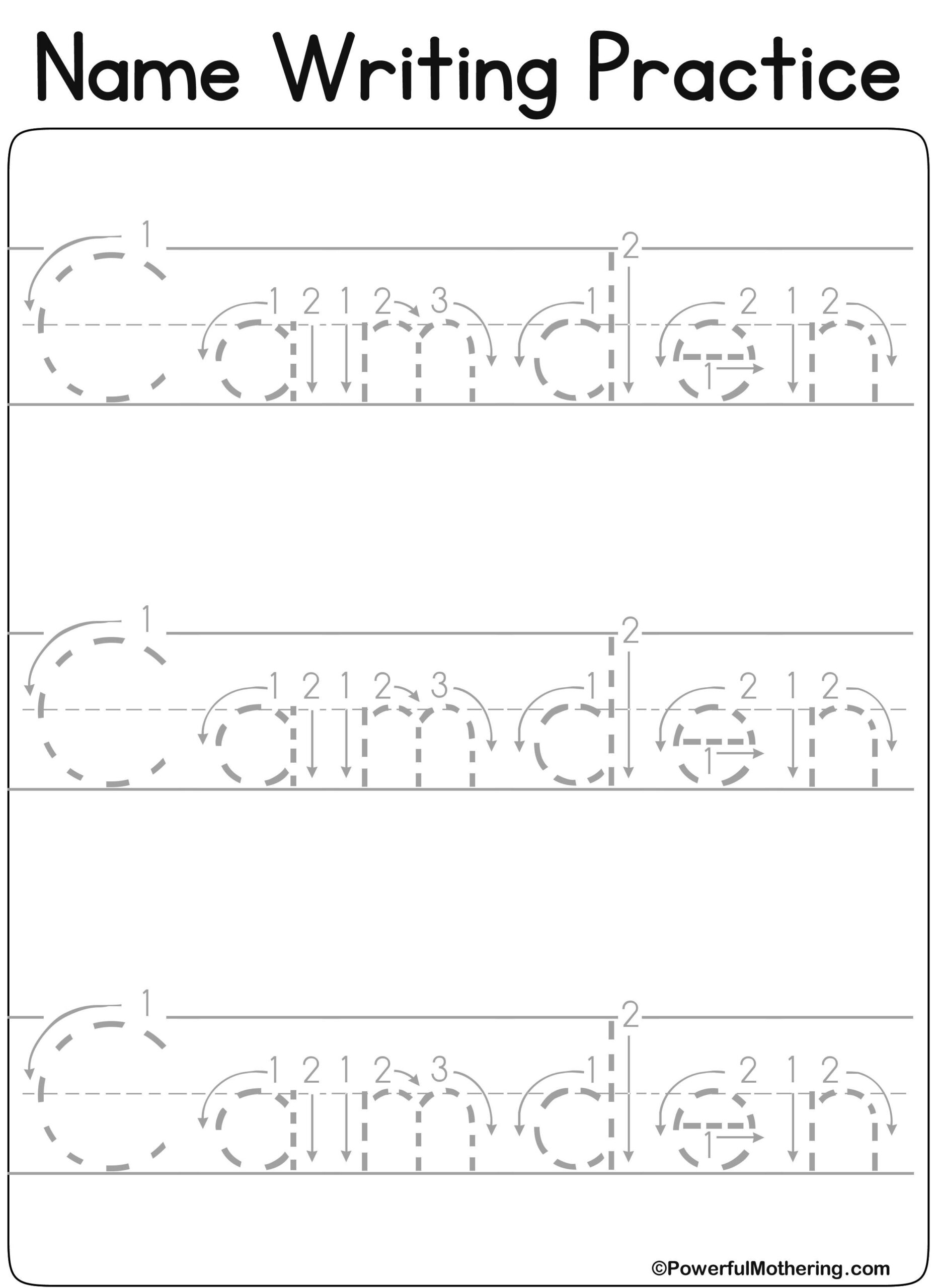 Pre K Name Tracing Worksheets