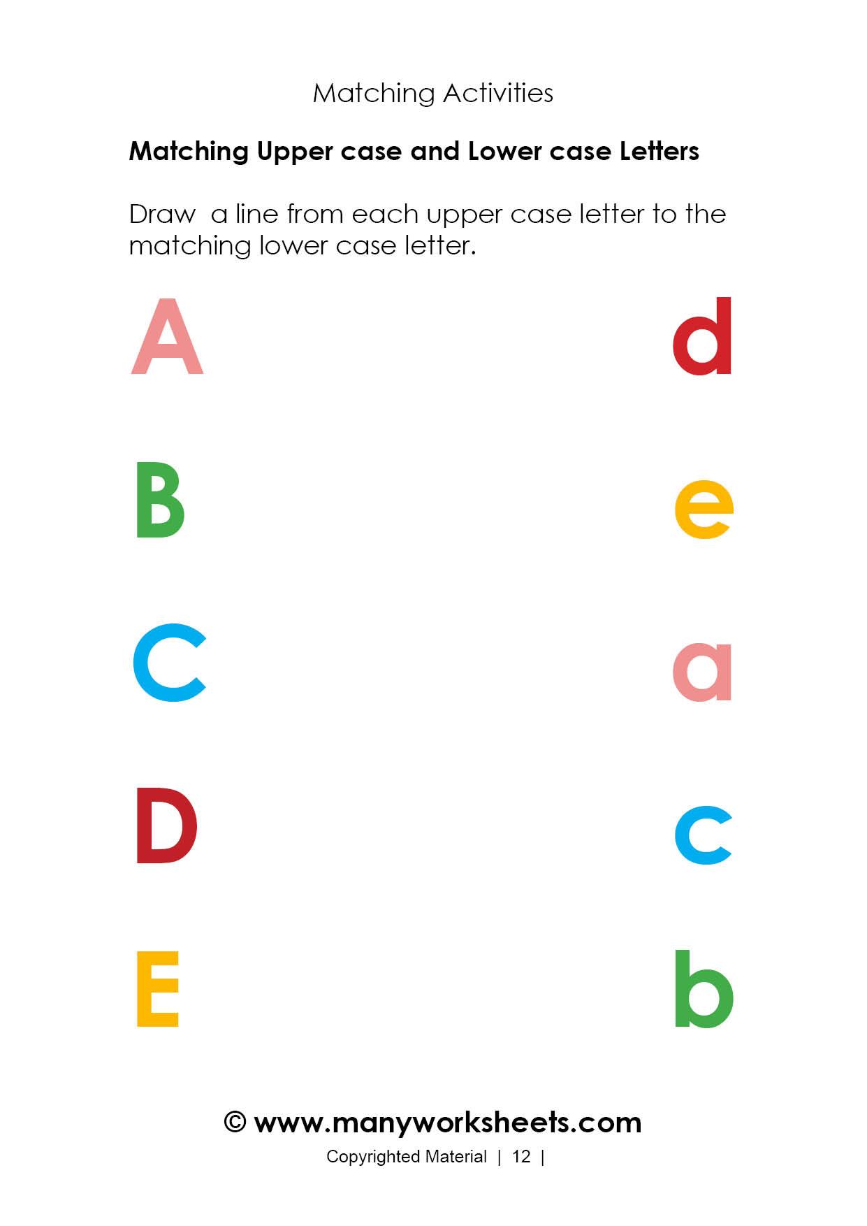 Alphabet Matching Worksheets For Preschoolers