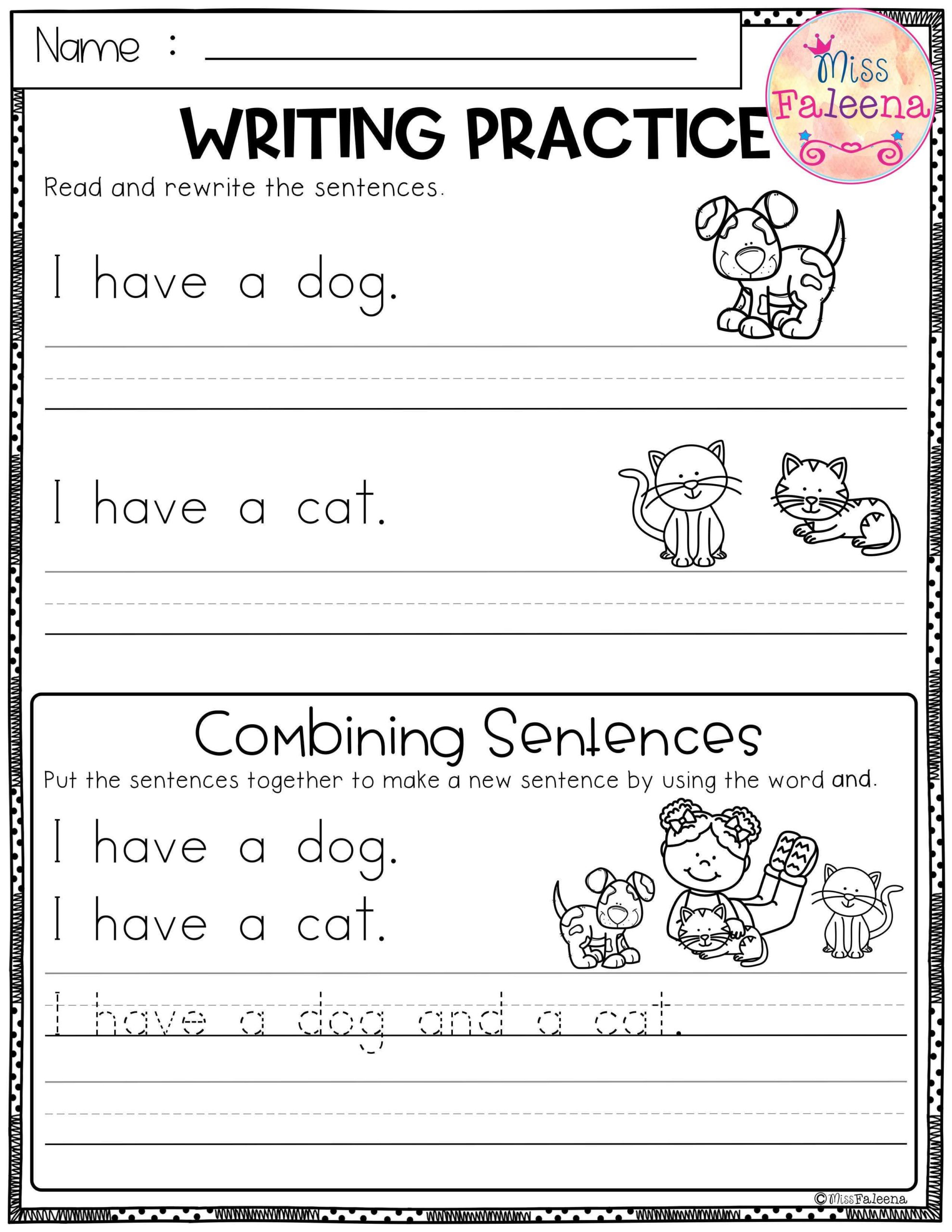 Sentence Tracing Worksheets Free