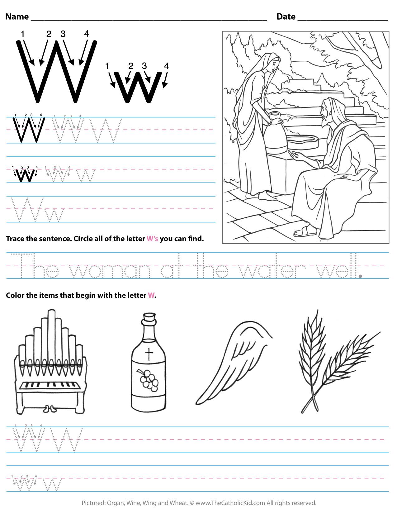 Letter W Worksheets For Grade 2