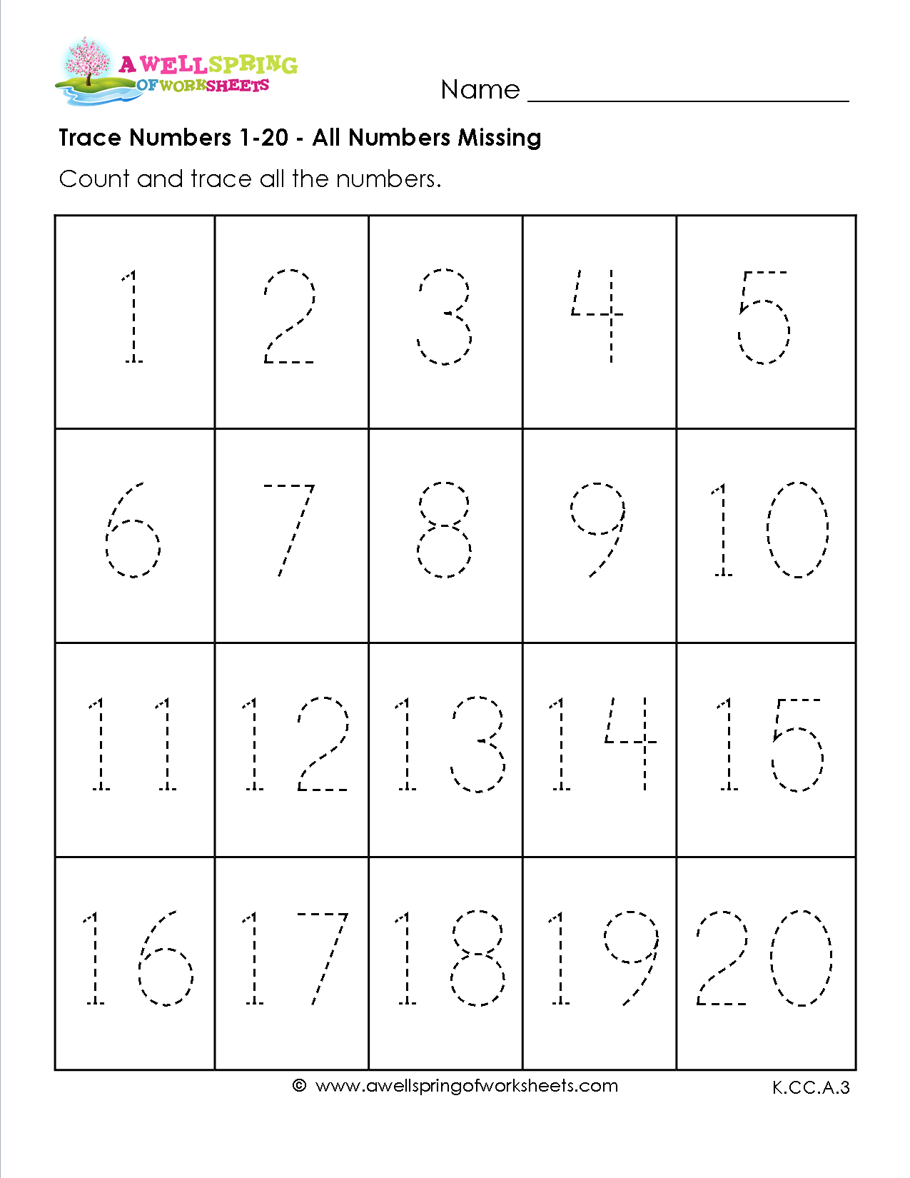 Free Printable Number Tracing Worksheets 1 20