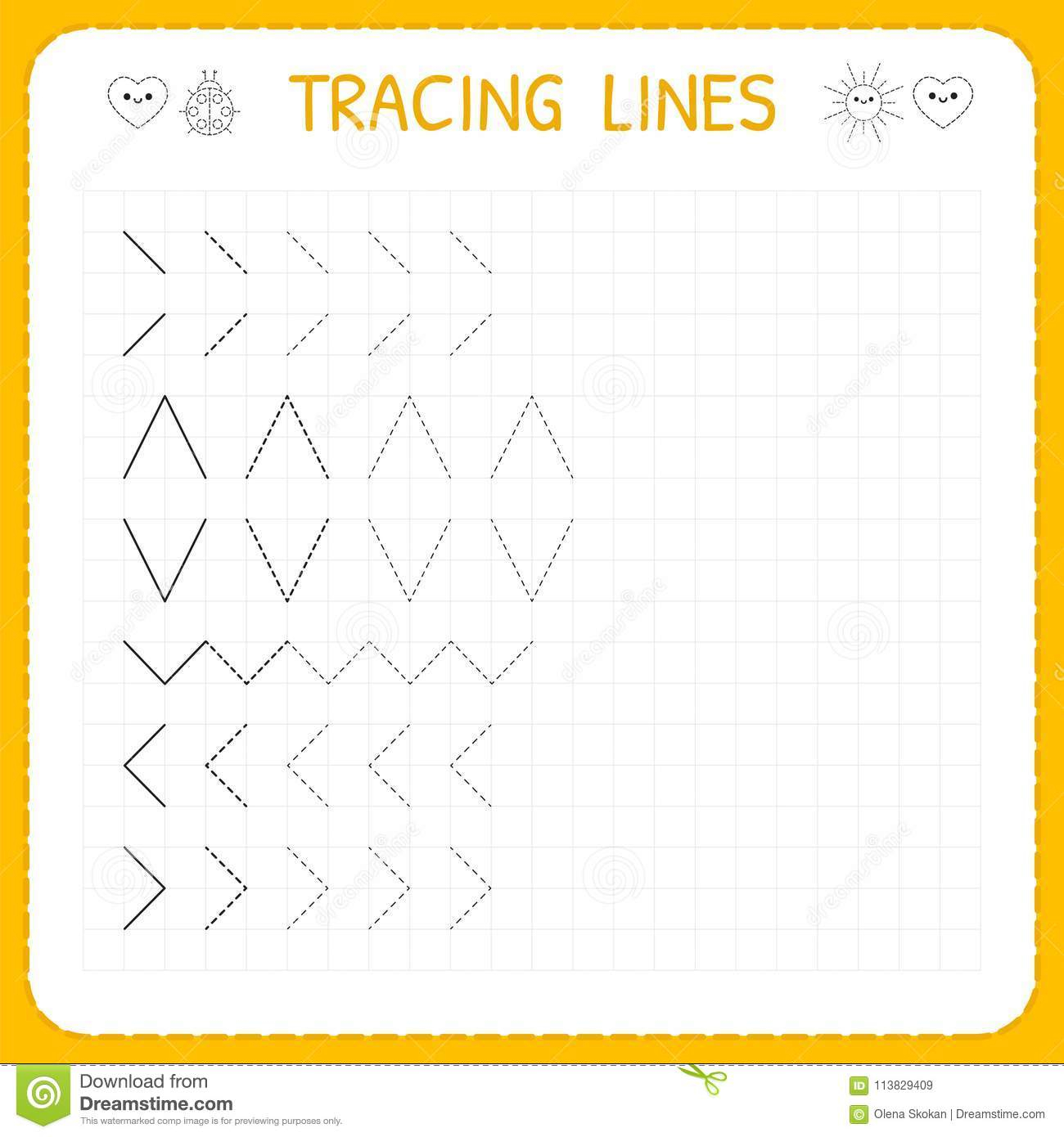 Tracing Diagonal Lines Worksheets For Preschool