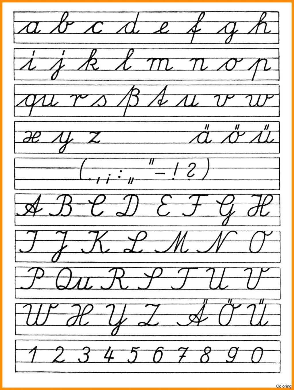 Cursive Alphabet Zaner Bloser