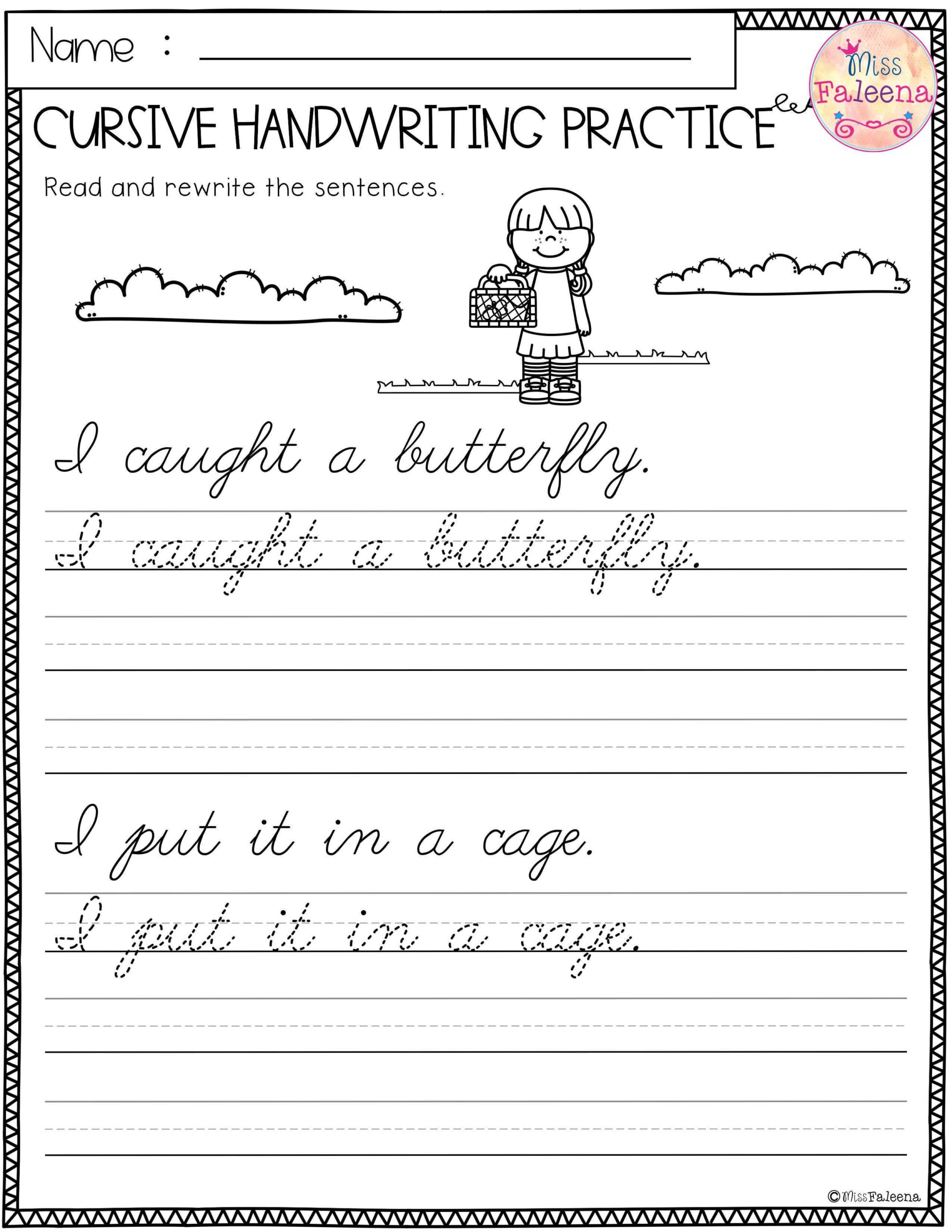 hight resolution of Free 3rd Grade Cursive Writing Worksheets   Printable Worksheets and  Activities for Teachers