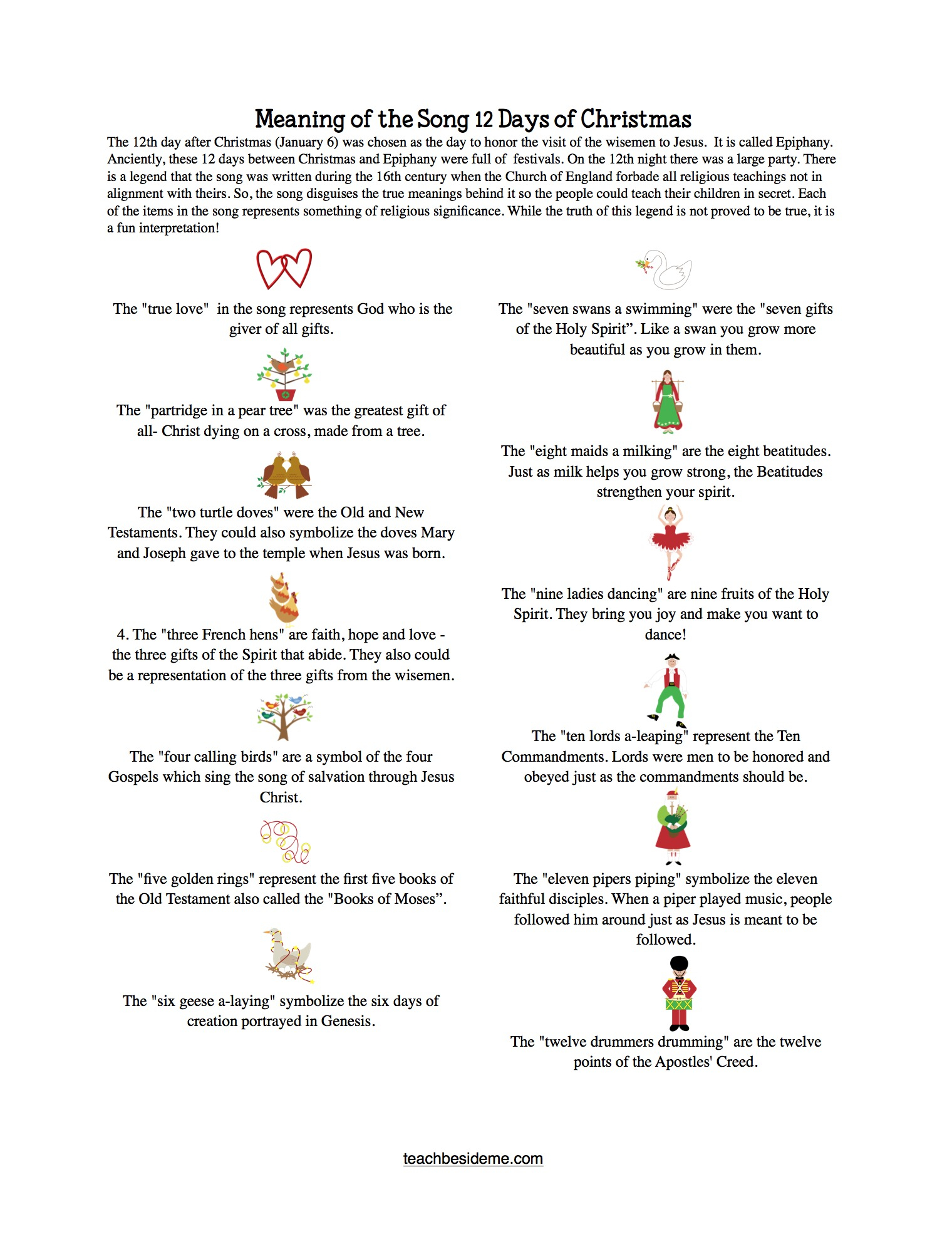 12 Days Of Christmas For Kids With Meaning Worksheet