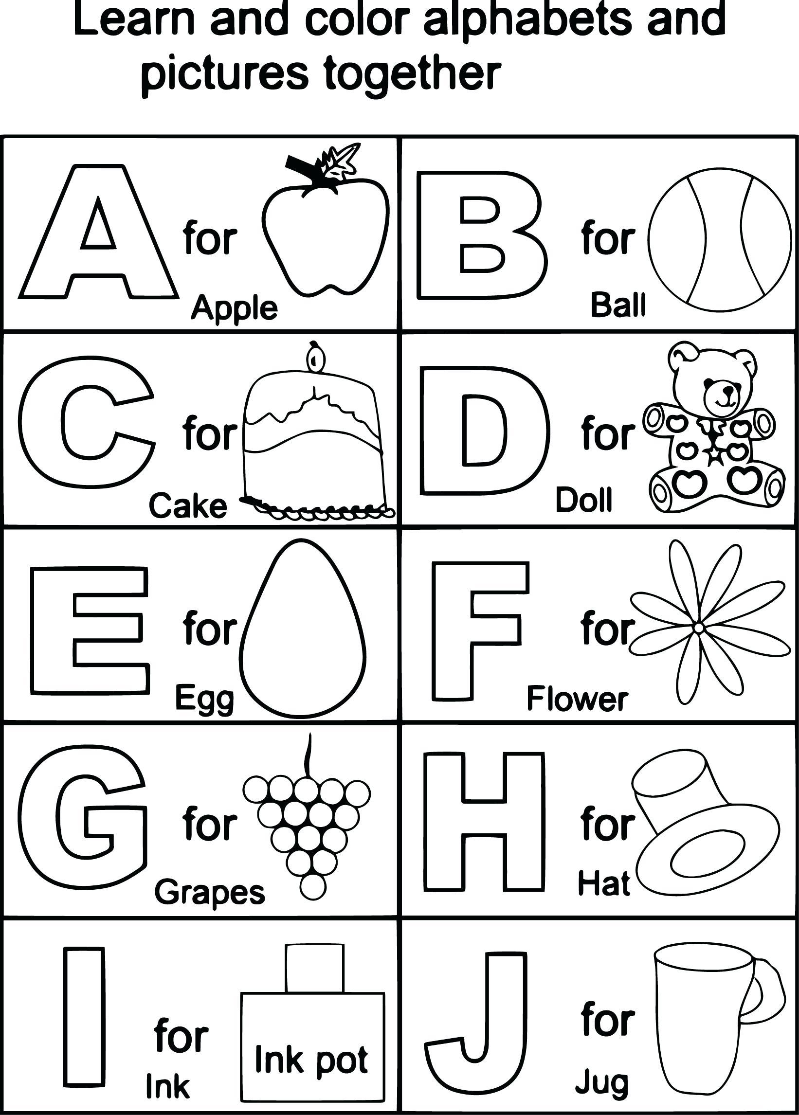 Alphabet Worksheets Kindy