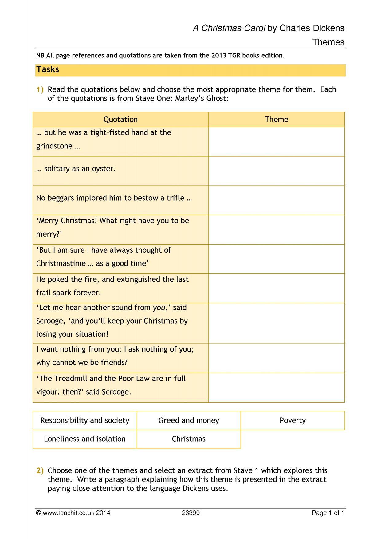 A Christmas Carol Stave 1 Worksheet