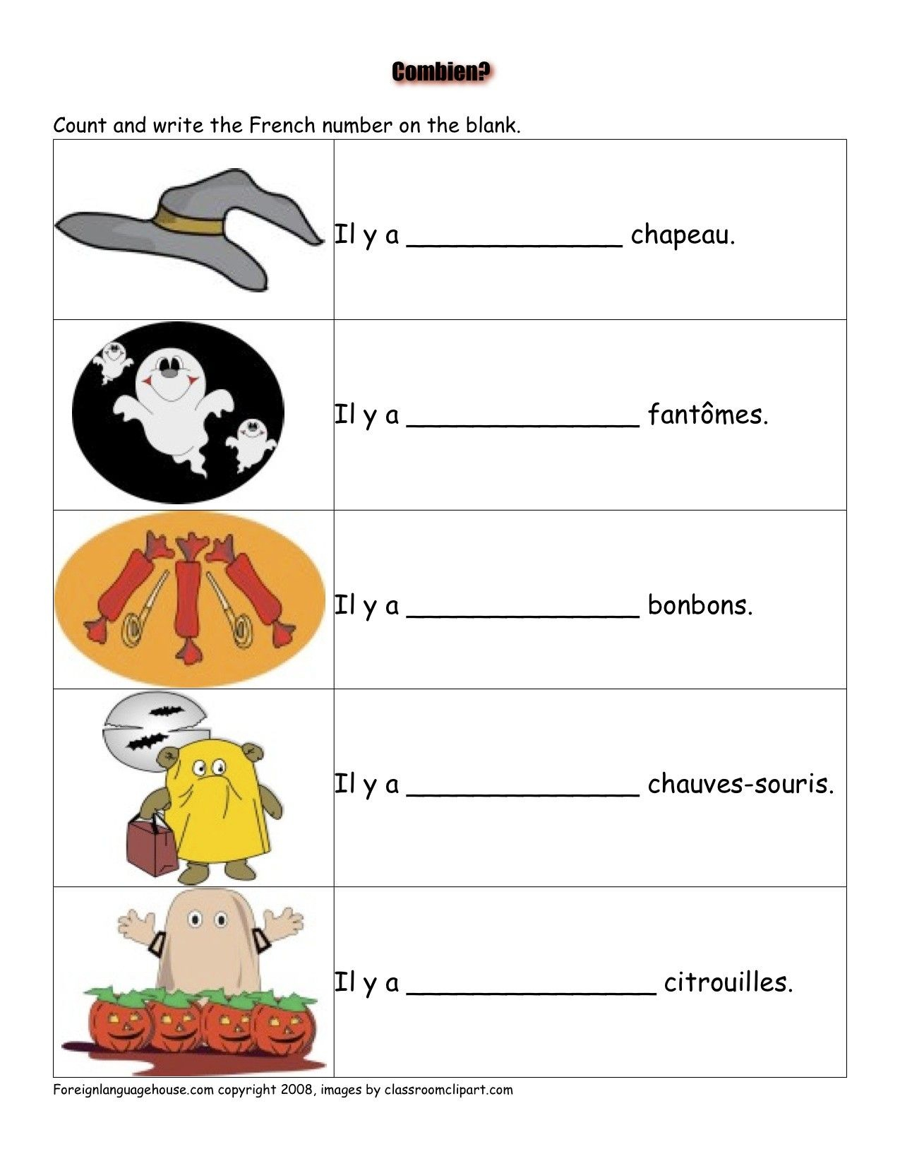 Halloween Vocabulary Worksheets In French