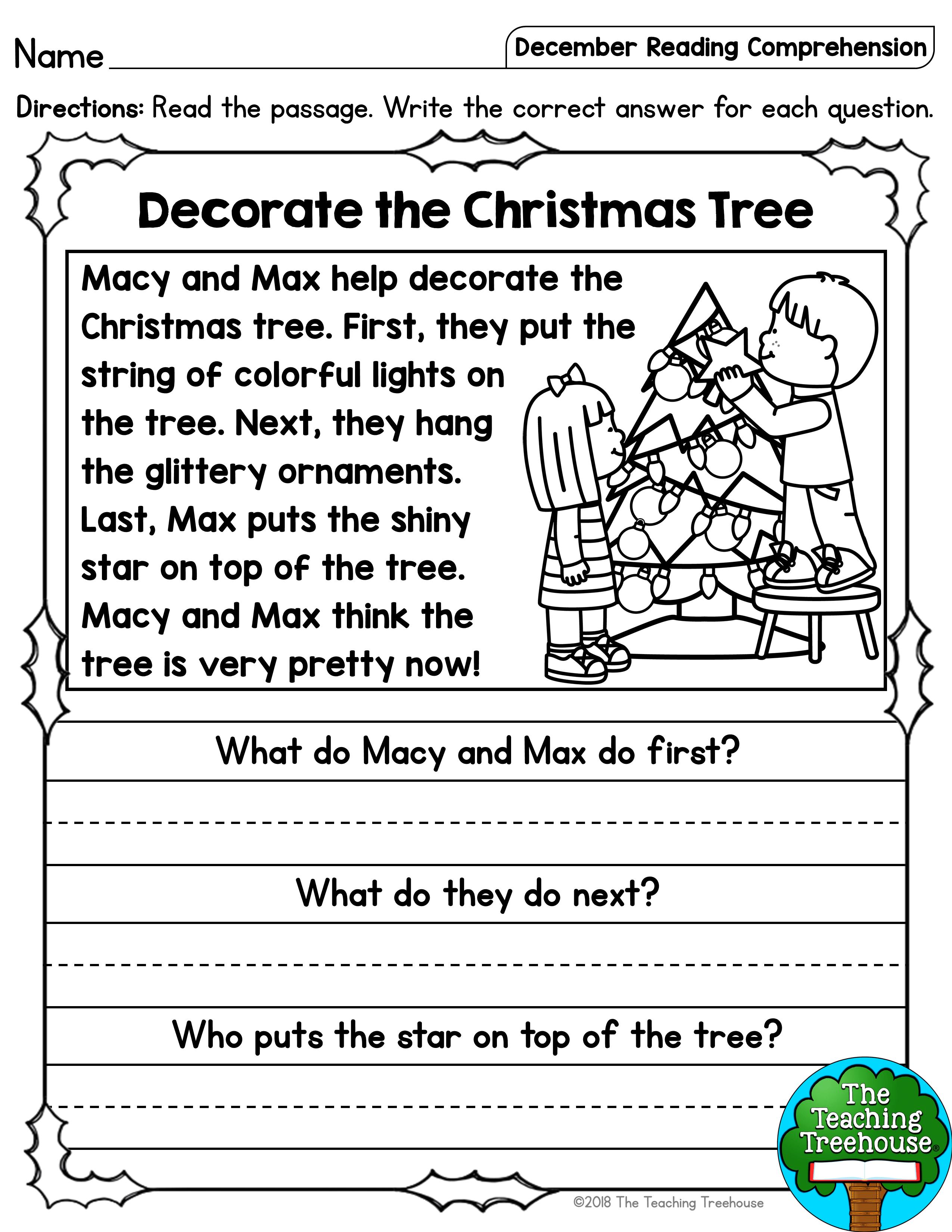 1st Grade Christmas Comprehension Worksheets