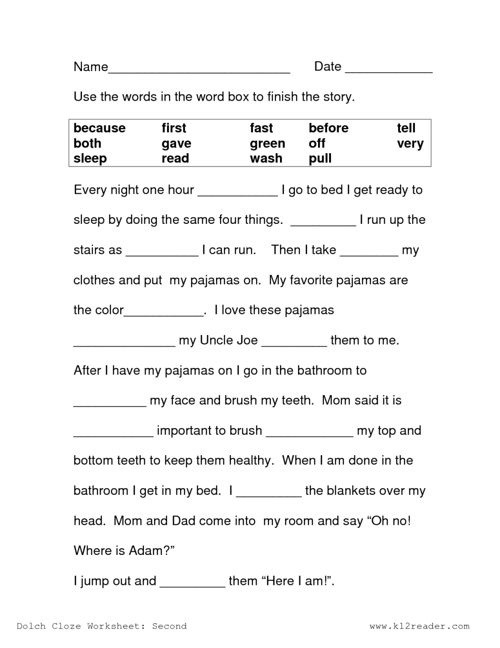 medium resolution of Fourth Grade Cloze Reading Worksheet   Printable Worksheets and Activities  for Teachers