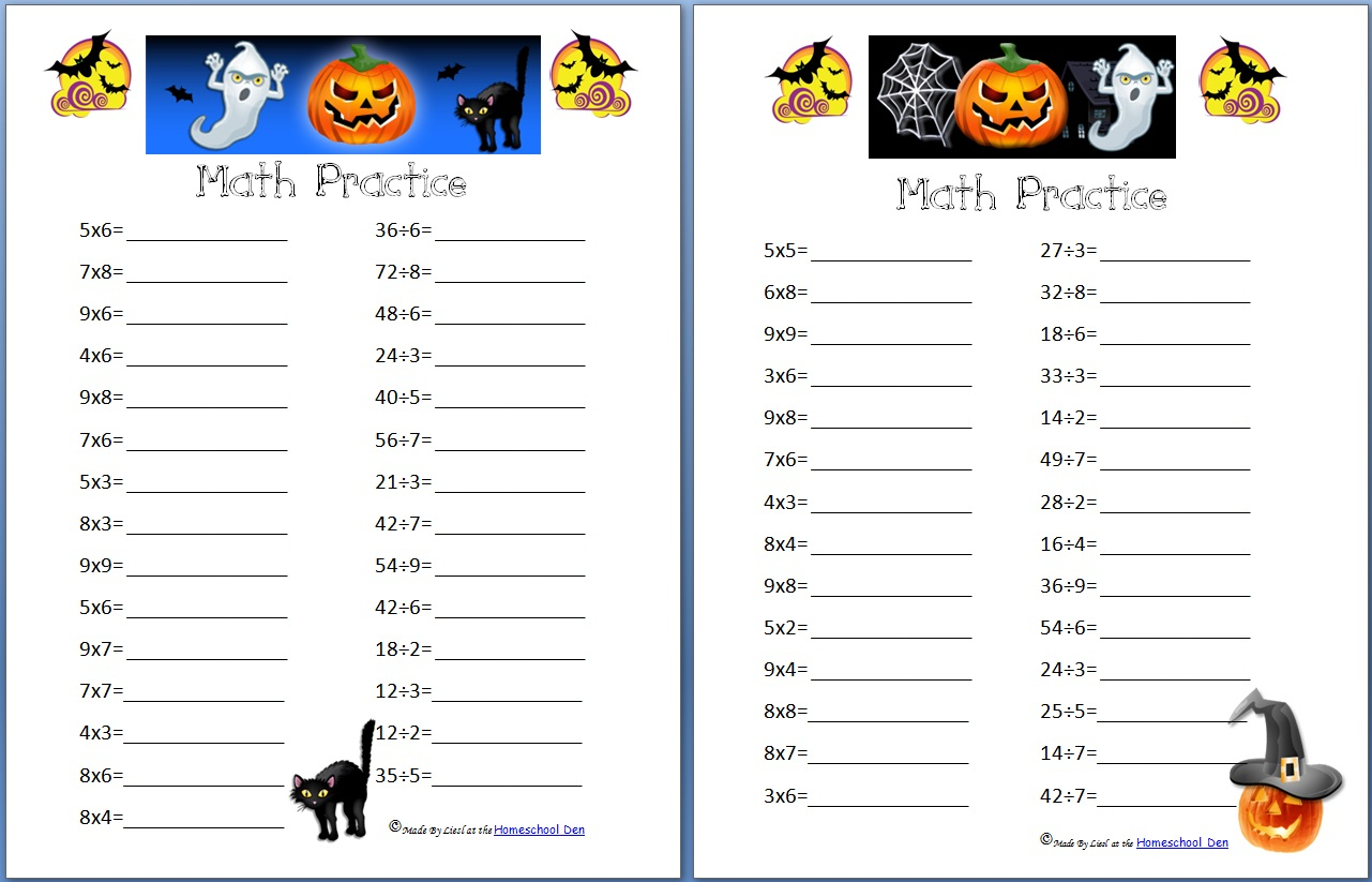 Free Middle School Halloween Math Worksheets
