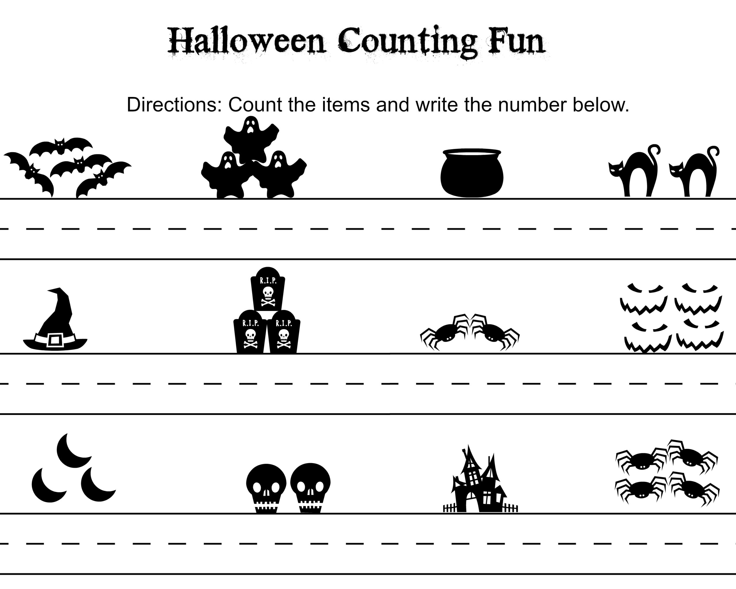Counting Worksheets 1 10 Halloween Theme
