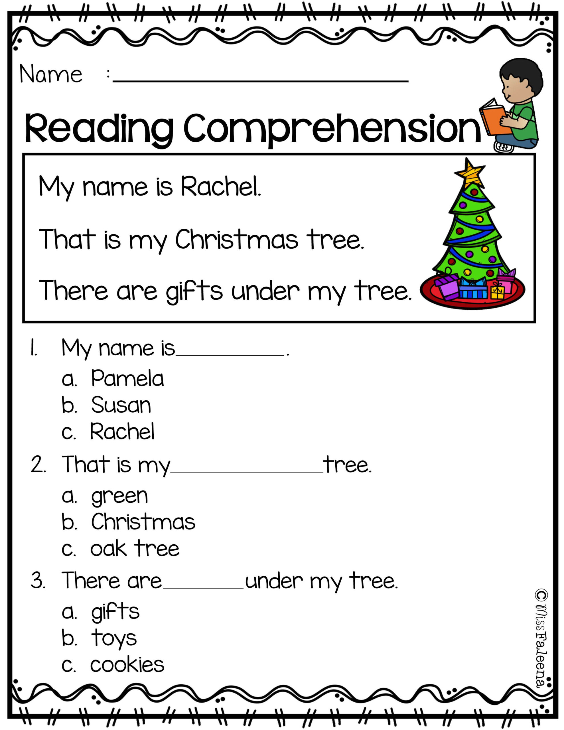 Free 5th Grade Christmas Reading Comprehension Worksheets