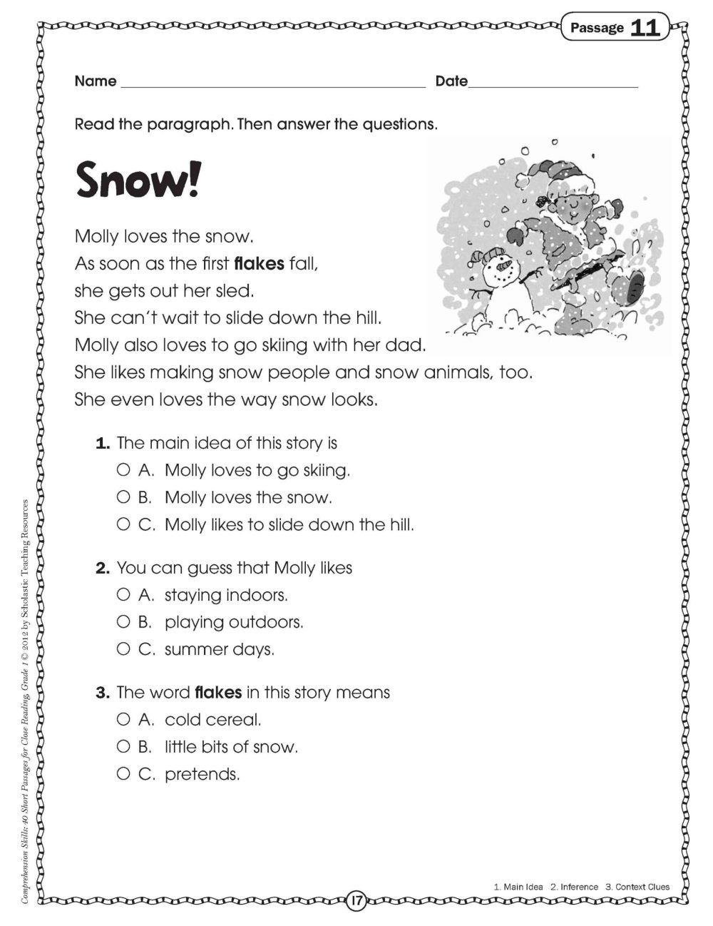 medium resolution of Christmas Language Arts Worksheet 3rd   Printable Worksheets and Activities  for Teachers