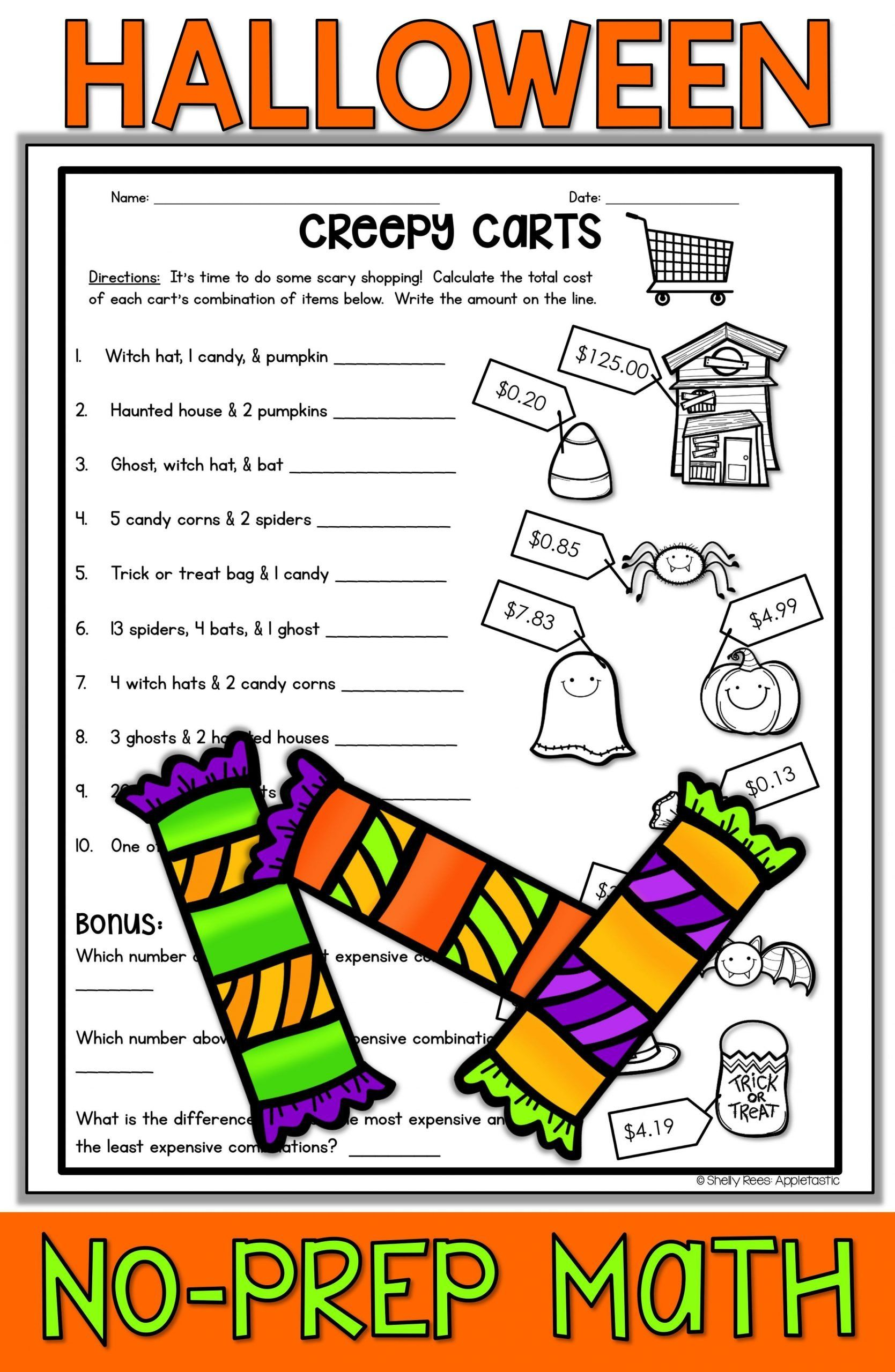 Free Printable Halloween Math Worksheets For Middle School