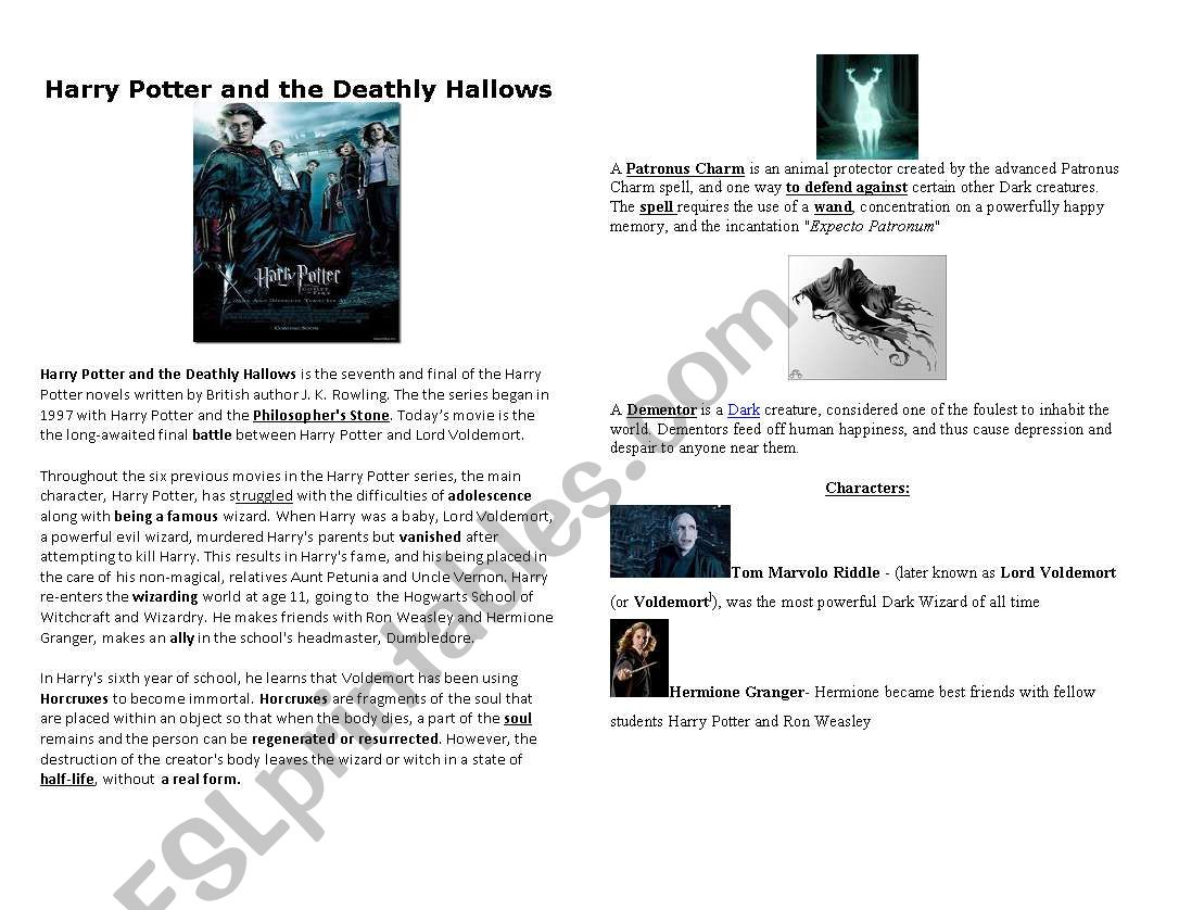 Harry Potter And Thely Hallows Worksheets