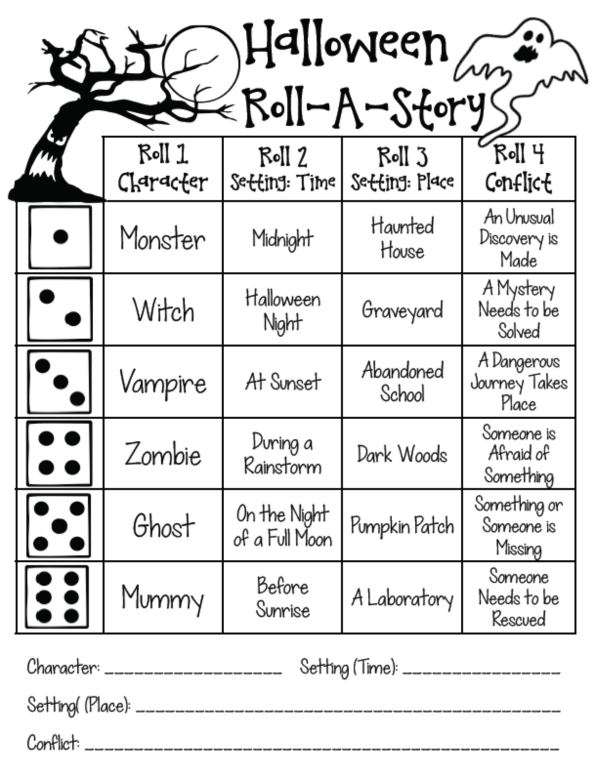 Roll A Dice Halloween Story Worksheet