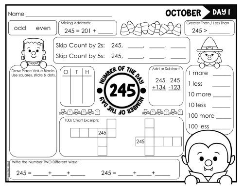 small resolution of Halloween Math Worksheets Place Value   Printable Worksheets and Activities  for Teachers