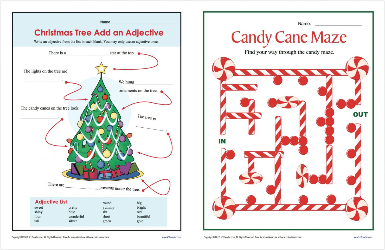 Free Christmas Worksheets For Middle School