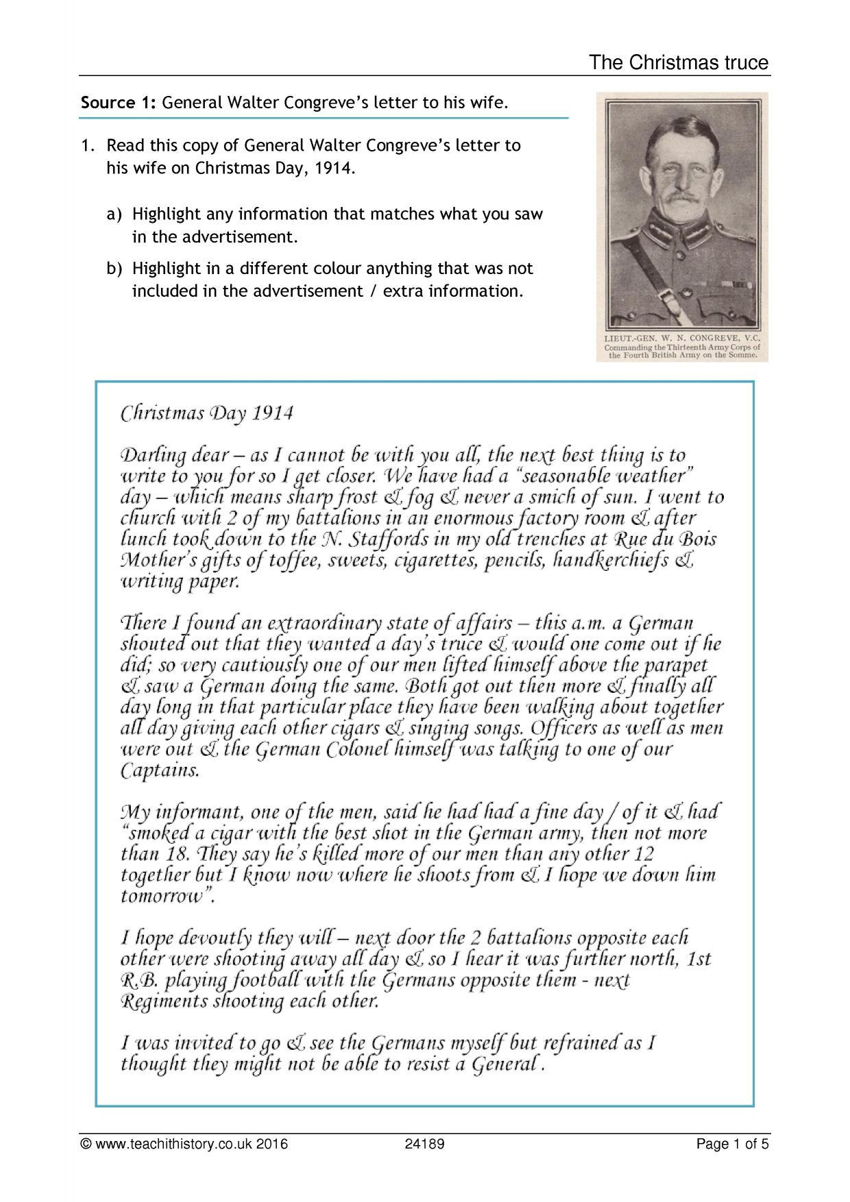 The World War 1 Christmas Truce Worksheet