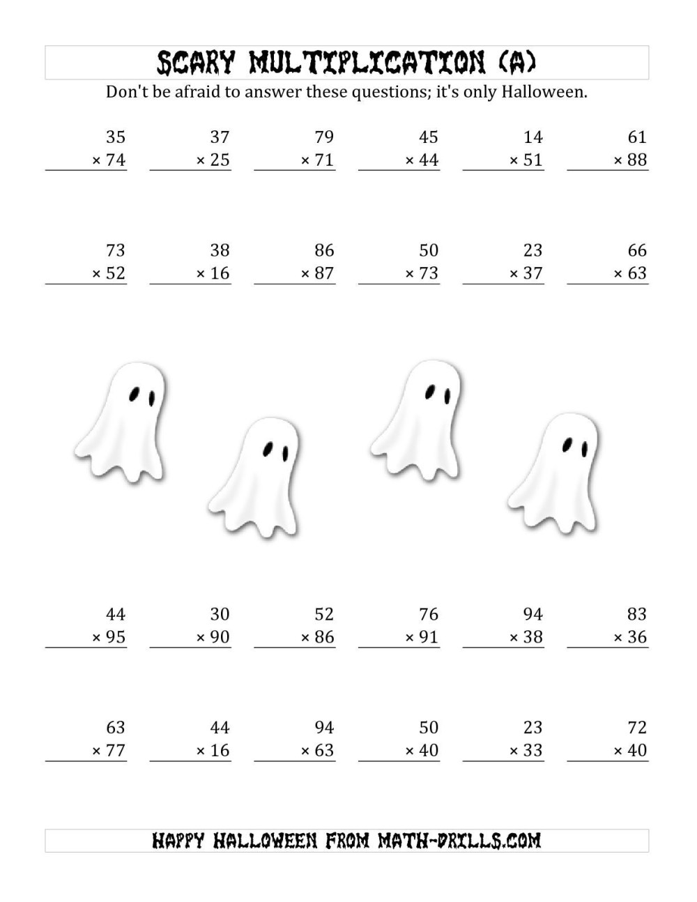medium resolution of 3rd Grade Halloween Math Coloring Worksheets   Printable Worksheets and  Activities for Teachers