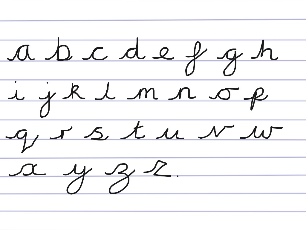 Cursive Alphabet With Arrows