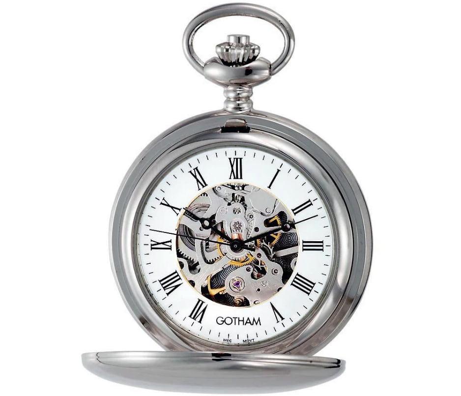 Gotham Men's Silver-Tone 17 Pocket Watch GWC14050S