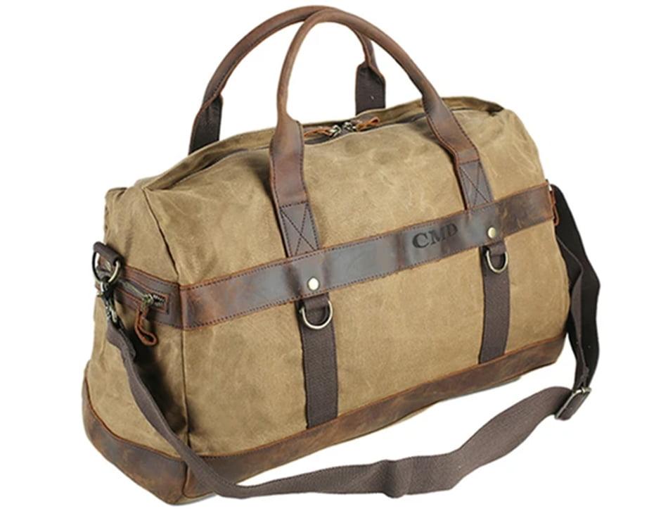 RockCow Leather Studio Canvas Travel Bag