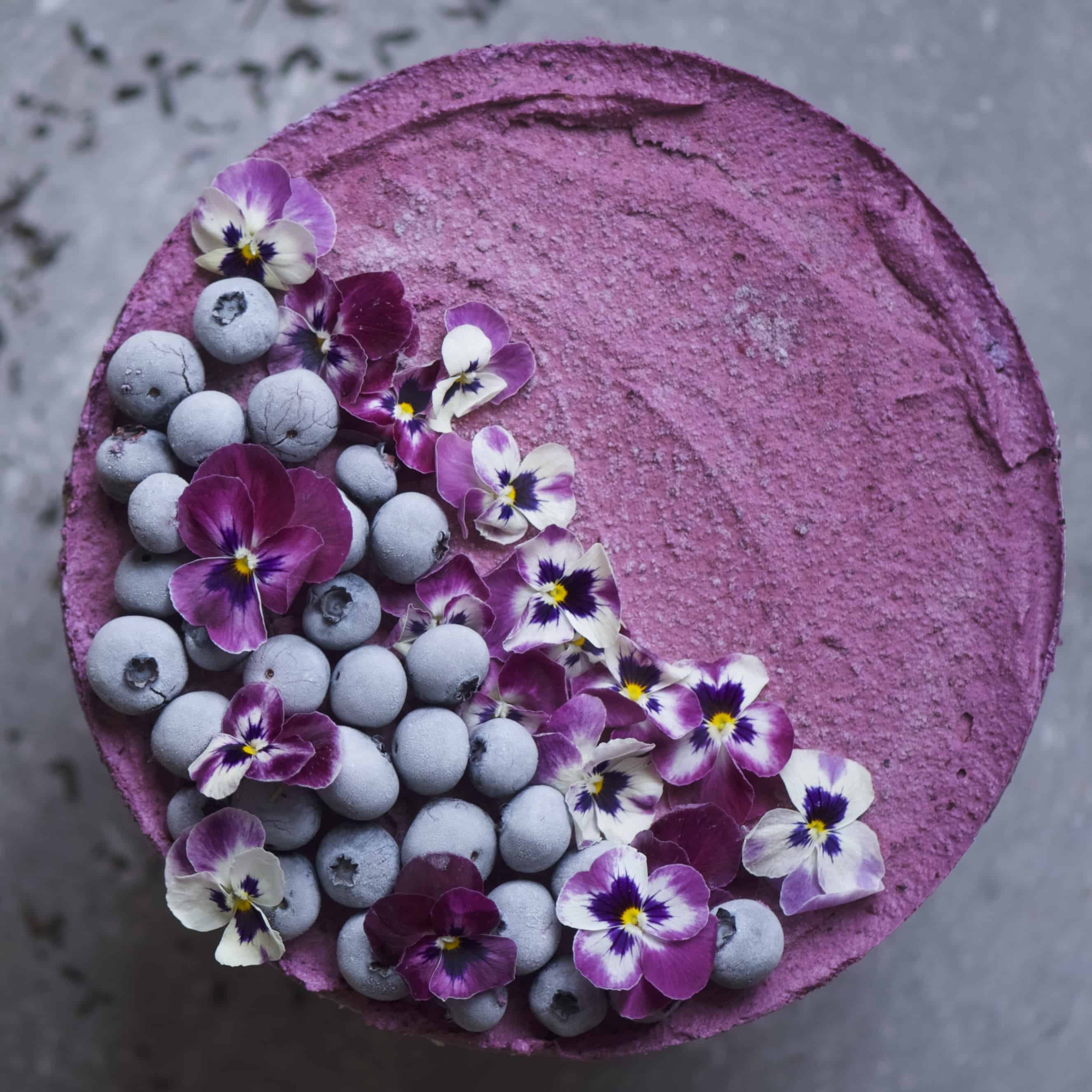 Earl Grey and Blueberry No Bake Vegan Cheesecake