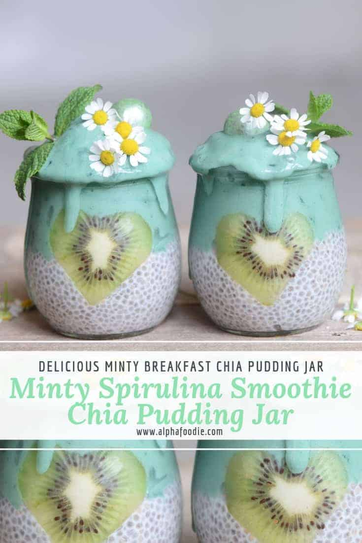 These Vegan chia jars are a perfect, nutritional breakfast with a simple mint spirulina smoothie layered on top of a classic vegan chia seed pudding. This recipe will keep you full for longer, give you a boost of energy,  Plus- it's delicious! And the jars can be prepared in just five minutes, excluding the setting time for the chia pudding.