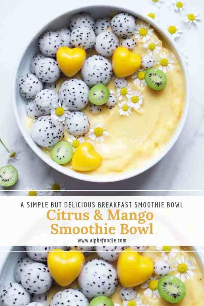 citrus smoothie bowl. healthy smoothie